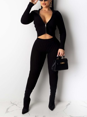 Special Black Solid Color Top High Waist Pants Amazing Look