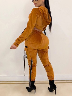 Energetic Yellow Long Sleeve Top Elastic Waist Pants Outfit