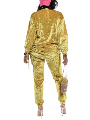 Fascinating Gold Crew Neck Top Ankle Length Pants Shop Online