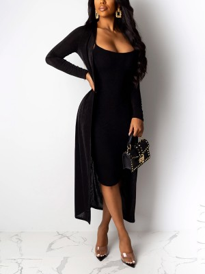 Graceful Black Strap Midi Dress Long Sleeve Cardigan Womens Fashion Shopping