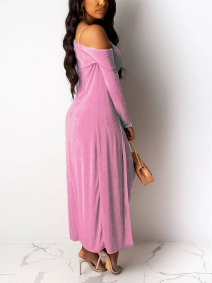 Nautically Pink Sling Bodycon Dress Solid Color Cardigan For Street Snap