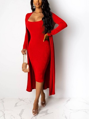 Sexy Ladies Red Velvet Bodycon Dress Open Front Cardigan For Women Online