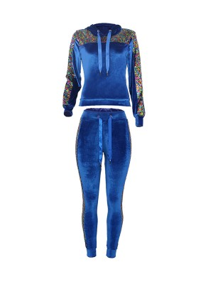 Distinct Blue Sequin Long Sleeve Hooded Two-Piece For Outdoor