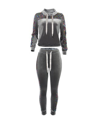 Supper Fashion Gray Sequin Hooded Neck Top And Tie Pants Slim