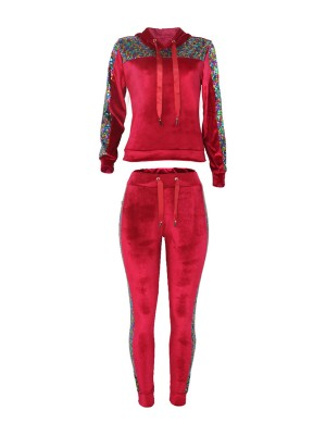 Voguish Red 2 Pieces Sequin Top Drawstring Pants Cool Fashion