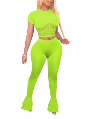 Happy Girl Green Short Sleeve Top High Waist Pants High Quality