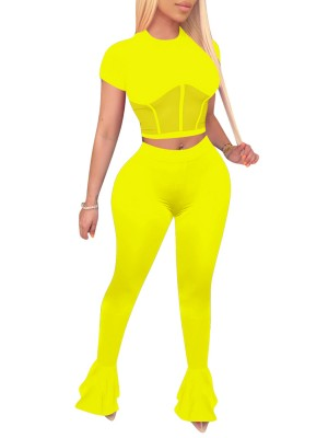 Vivid Yellow Sheer Mesh Women Suit Floor Length Modern Fit