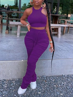 Attractive Purple High Waist Halter Two-Piece Cropped Stretchy
