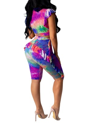 Captivating Tie-Dyed Zipper Top High Waist Shorts Amazing Look