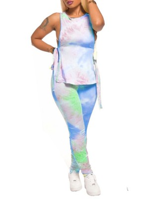 Lovable Blue Tie-Dyed Women Suit Full Length Going Out Outfits
