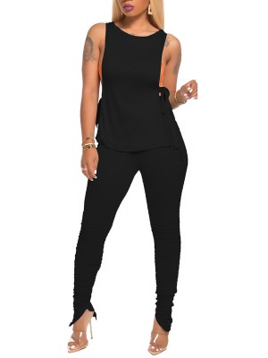 Slimming Black Crew Neck Top High Waist Leggings For Lounging