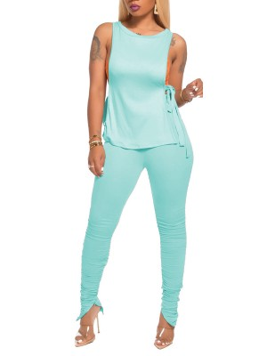 Incredible Sky Blue Sleeveless Shirt Tie Pleated Pants Women