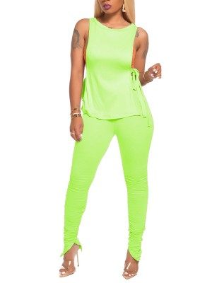 Adorable Green Open Side Shirt Full Length Pants All Over Smooth