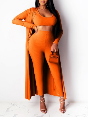 Spring Orange High Waist Legging Crop Top 3 Pieces Amazing Look