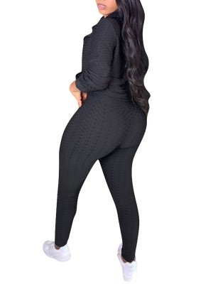 Black Sweat Suit Jacquard Weave Solid Color Fashion