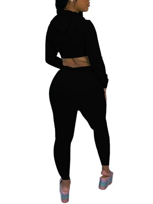 Black Full Sleeve Crop Top Drawstring Pants For Running