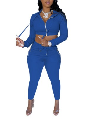 Blue Hooded Collar Sweat Suit High Waist Female Charm