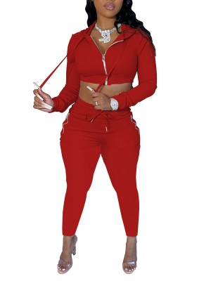 Red Sweat Suit Solid Color Full Length Casual Clothing