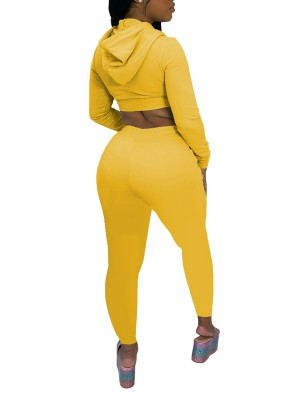 Yellow Cropped Top With Zipper Drawstring Leggings Versatile Item