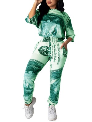 Green Half Sleeve Dollar Print 2 Piece Outfit Simplicity