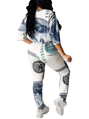 Gray Dollar Print 2 Piece Outfit With Pockets Comfortable