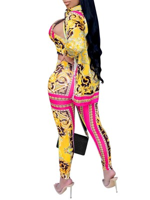 Yellow High Waist Print 3 Piece Outfits Front Open For Work