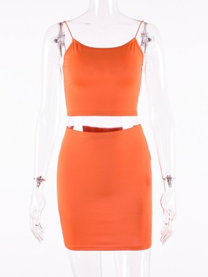 Orange Sling Low Back Top Tight Skirt Feminine Grace