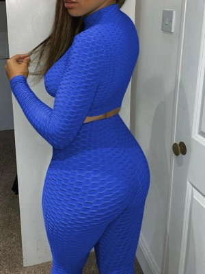 Blue Jacquard Long Sleeve Crop Sports Suit Womens Fashion