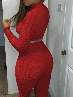 Red Long Sleeve High Waist Sports Two-Piece Comfortable