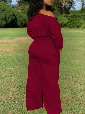 Wine Red Long Sleeve High Rise Knotted Women Suit Elasticity