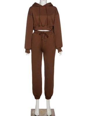 Brown Drawstring Drop Shoulder Two-Piece Outfit Comfort Fashion