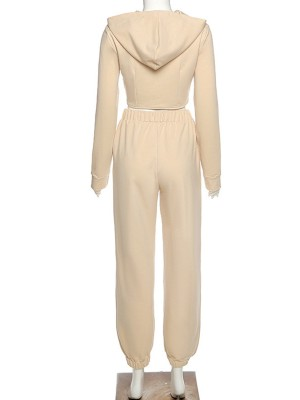 Beige Irregular Hem Hooded Neck 2-Piece Outfit Elastic Material