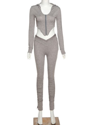 Gray Corp Zipper Hood Top Jogger 2 Pieces Set Fashion Shop Online