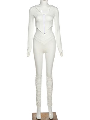 White Long Sleeve Hood Top Ruched Jogger Suit Classic Clothing