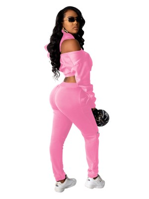 Pink Cropped Sweatshirt High Wasit Pocket Pants Women's Clothing