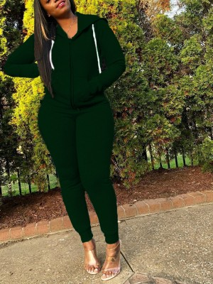 Dark Green High Waist Two Piece Outfit With Pocket Stretch