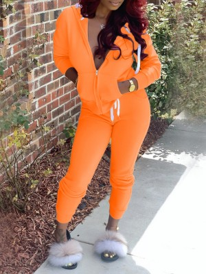 Orange Drawstring Waist Zipper Two Piece Outfit Fabulous Fit
