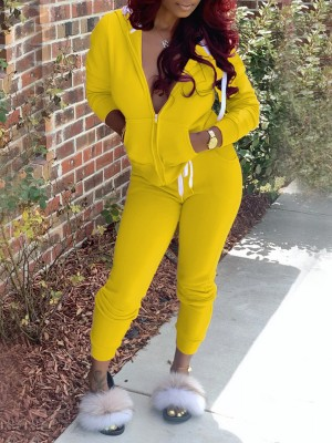 Yellow Two Piece Outfit Long Sleeve With Pocket Forward Women