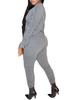 Gray Long Sleeve Top Elastic Waist Pants High Elasticity