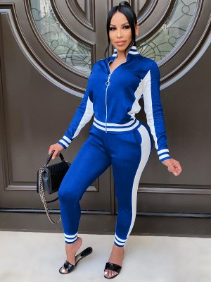 Blue Stripe Print Zipper Patchwork Women Suit Trendy Clothes
