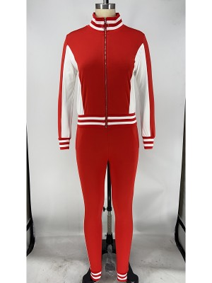 Red Athletic Suit Zipper Colorblock Ankle Length High Quality