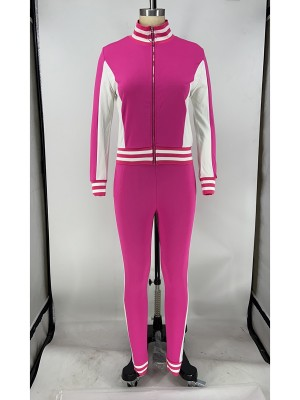 Rose Red Patchwork Long Sleeve High Rise Running Suit Outfit