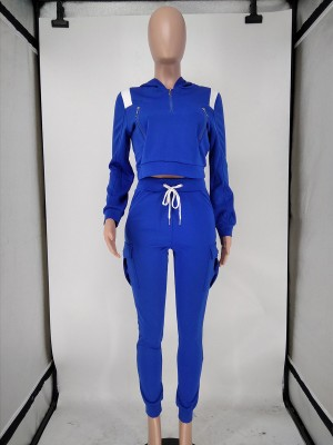 Blue Hood High Waist Zipper Two Piece Outfit Street Style