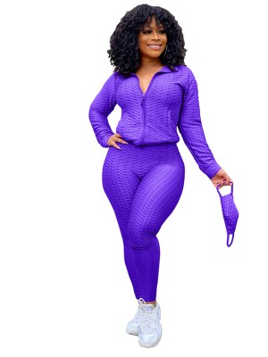 Purple Queen Size High Rise Women Set Women Outfit