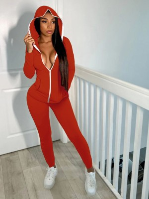 Red High Waist Hooded Neck Two-Piece Outfit Casual Comfort
