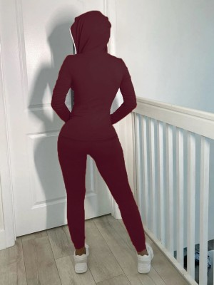Wine Red Hood Zipper Jacket High Waist Pants Suit Casual Fashion