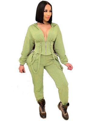 Army Green Hooded Collar High Waist Women Suit Fashion Forward