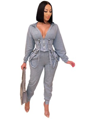 Gray Strap Zipper Full Length Women Set All-Match Style