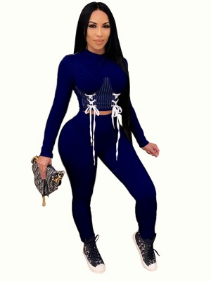 Royal Blue Full Sleeve Shirt High Rise Leggings Women Outfit