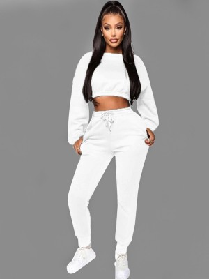 White Cropped Top Full Sleeve Drawstring Pants For Strolling